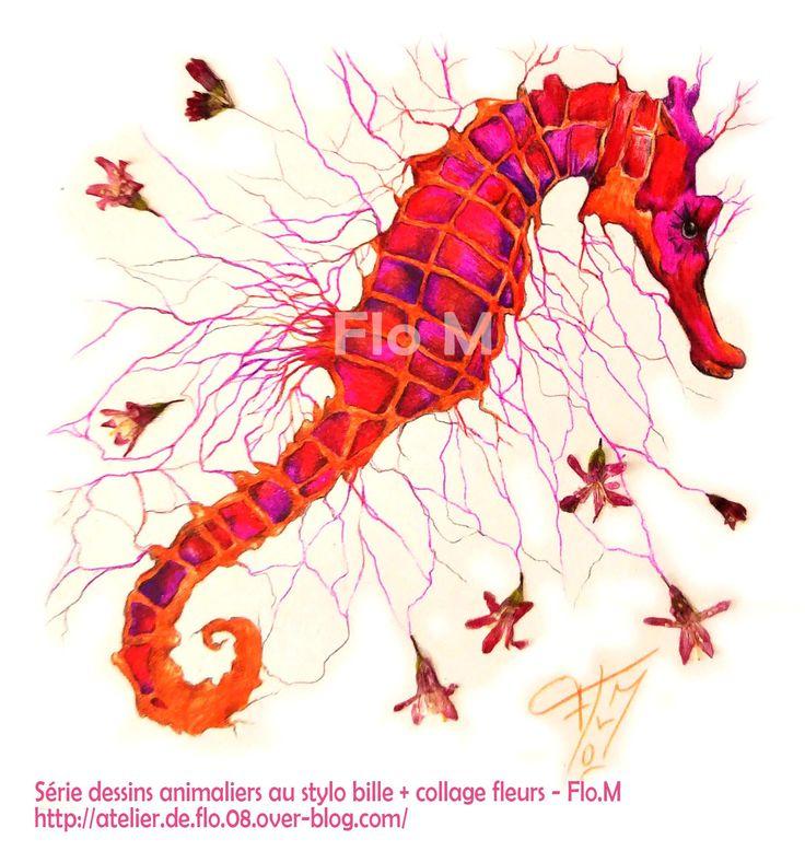 VENDU Série animalière - Petit format (10x10cm) Stylo bille couleur + collage fleurs 45€ (+10€ frais de port)