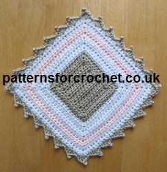 Pretty decorative small mat from www.patternsforcrochet.co.uk can be used for plant pots, ornaments etc. Also if you make a loop on one of the corners it can be a potholder.
