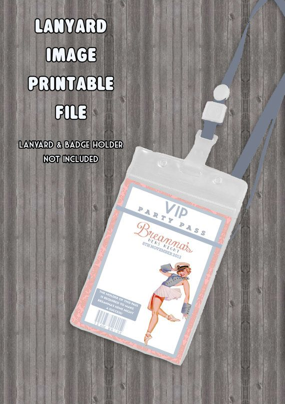 Vintage Pin Up Girl Lanyard Badge Image Vip Printable