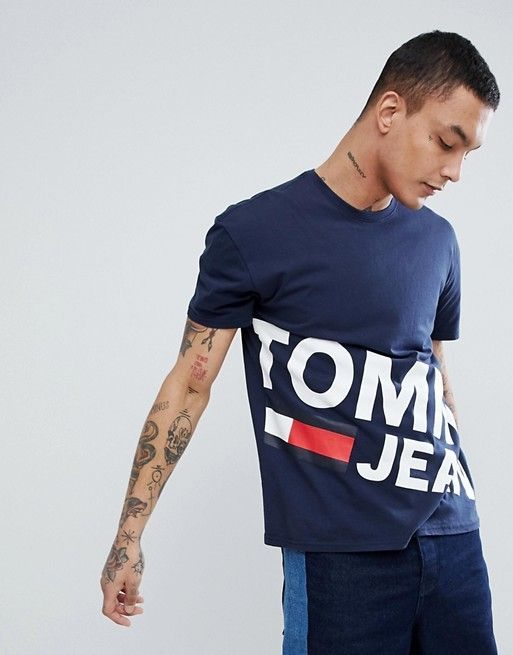 a896785cc Tommy Jeans flag large diagonal flag logo organic cotton t-shirt in ...