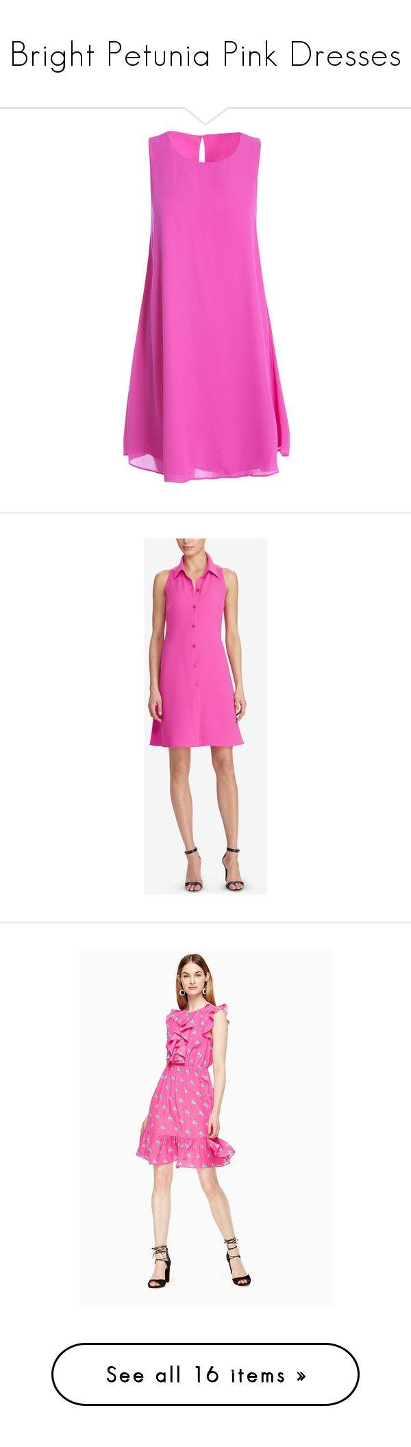 """Bright Petunia Pink Dresses"" by tegan-b-riley on Polyvore featuring dresses, fushia, sleeveless chiffon dress, pink shift dress, pink chiffon dresses, no sleeve dress, sleeveless shift dress, orchid pink, a line shape dress and petite a line dresses"