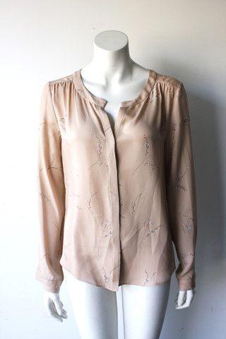 T Babaton Multi Color Floral Silk Blouse Size M $70