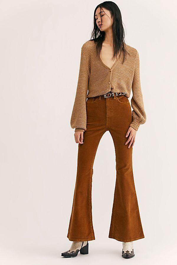 63501efc4809 Lee Corduroy High-Rise Flares - Chestnut Brown Corduroy Flare Pants - High  Waisted Cord Flares - Brown Corduroy Pants - Cord Flares - Brown Flare Pants