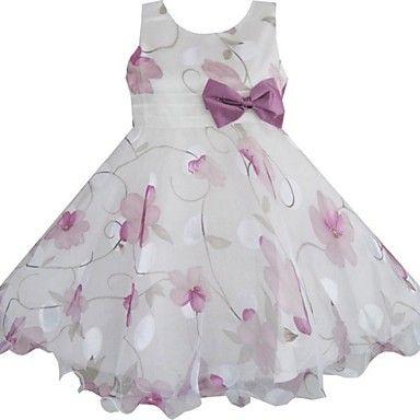 Girl's Flower Print Bow Party Dress Wedding Pageant Bridesmaid Princess Dresses – DKK kr. 162
