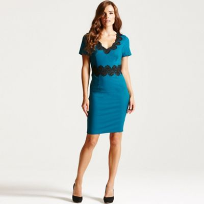 Paper Dolls Teal and black lace trim wiggle dress- at Debenhams.com