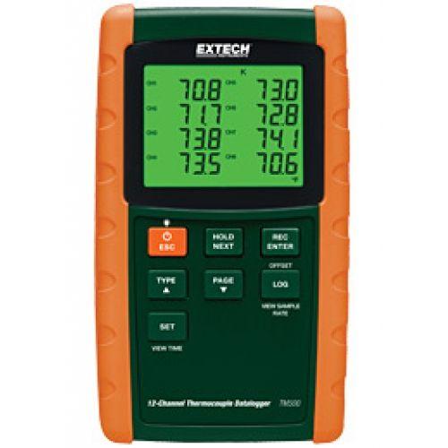 http://handinstrument.se/termometer-r1288/datalogger-temperatur-med-12-kanaler-53-TM500-r35207  Datalogger, temperatur, med 12 kanaler  Samtidig visning CH1 till CH8 eller CH9 till CH12  Offset justering för att nollfunktion eller för att göra relativa mätningar  Lagrar 99 avläsningar manuellt och 20M avläsningar via 2 GB SD-kort  Spelar in mätvärden med datum-och tidsstämpel i Excela ®-format för vidare analys  Programmerbara samplingshastighet 1-3600 sekunder  Min / Max, Data Hold...