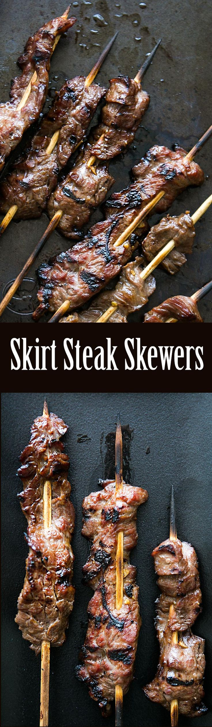 Grilled Skirt Steak Skewers ~ Marinated skirt steak, threaded onto skewers and grilled. ~ SimplyRecipes.com