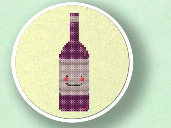 +This item is available for instant digital download*  A happy wine bottle counted cross stitch pattern. Use the cross-stitch pattern to personalize