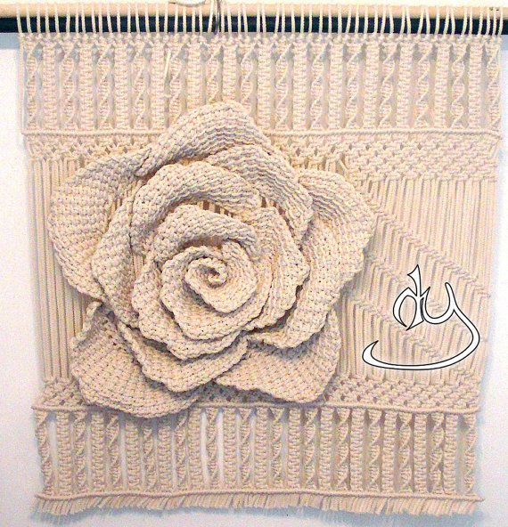 Macrame 3D Rose Wall Hanging and Decor