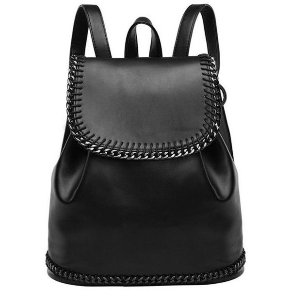 LUCLUC Black London Style Metallic Backpacks Expandable Bags ($50) ❤ liked on Polyvore featuring bags, backpacks, black bag, black rucksack, black knapsack, backpacks bags and metallic backpack