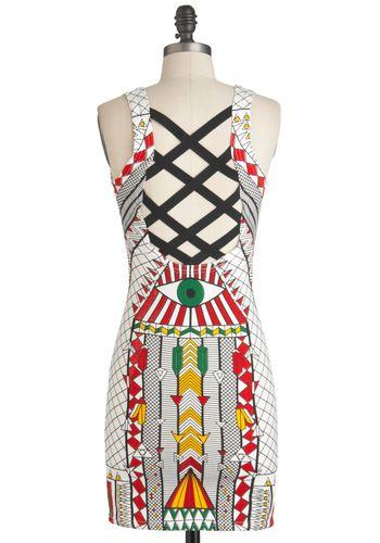 Eye Love New York Dress - Short, Print, Cutout, Party, Mini, Tank top (2 thick straps), Multi, Red, Yellow, Green, White, Statement, Bodycon / Bandage, International Designer