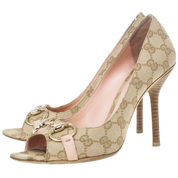 Gucci Guccissima Canvas Horsebit Peep Toe Pumps Size 39 - Buy & Sell - LC