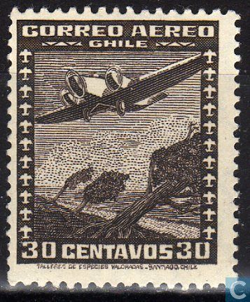 Postage Stamps - Chile [CHL] - Aircraft over Mountains
