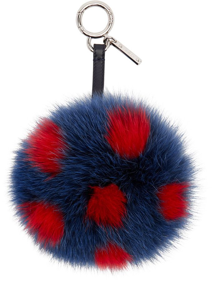 Please click on the picture to go to the detail page. Fendi Navy PomPom Keychain