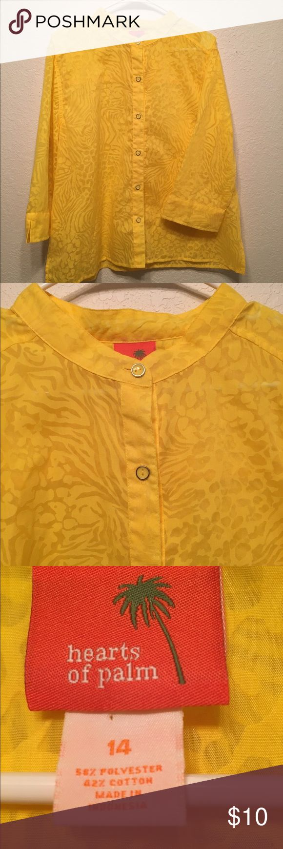 Yellow animal print blouse Hearts of palm yellow somewhat sheer anilmal print blouse. In great condition. Size 14 hearts of palm Tops Blouses