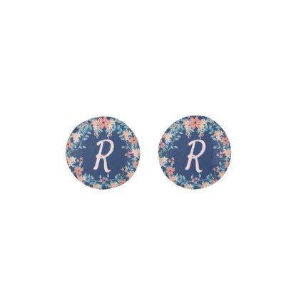 #Beautiful Blue and Peach Floral Monogram Initials Earrings - #flower gifts floral flowers diy