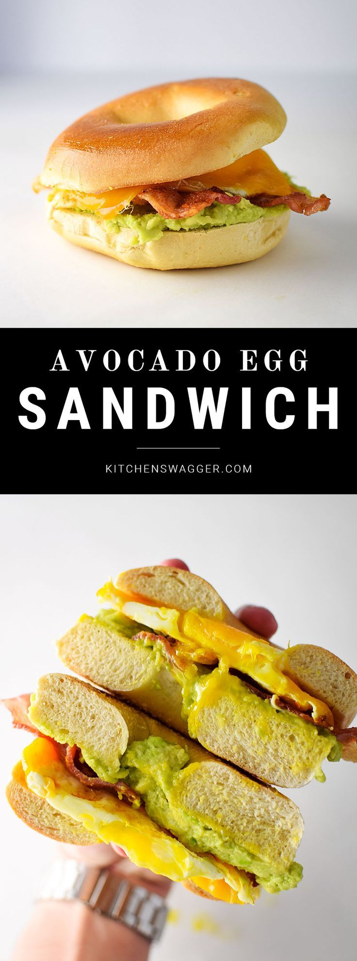 The bacon, egg and avocado breakfast sandwich combines fresh avocado, maple bacon, a  gooey fried egg, cheddar cheese, and a toasted plain bagel.