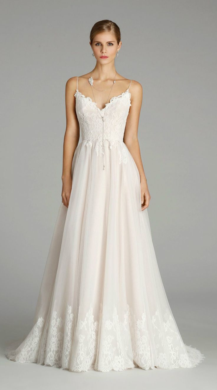 Ballerina style romantic lace trimmed wedding gown by Alvina Valenta Style 9652