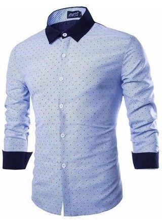 Camisa Casual Moderna de Lujo con Estilo - a Rayas - Azul y Rosada