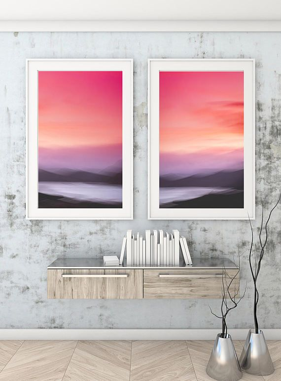 Diptych Pink, Rose Gold, Abstract Canvas Large Canvas, Diptych XXL, Diptych Abstract landscape, Extra large wall art, Print set, Canvas set