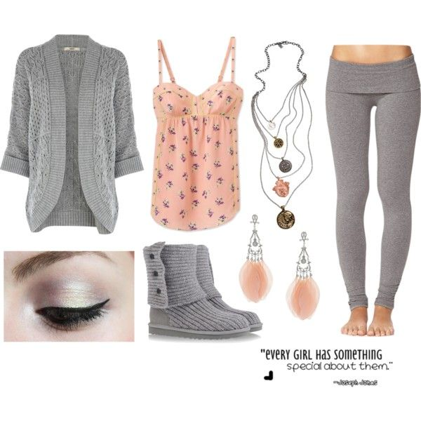 """Grey, Peach, Boots, Yoga Pants, Necklaces (:"" By"