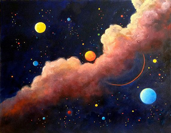 Celestial Oil Painting On Canvas Original Painting Galaxy Etsy Galaxy Art Painting Planet Painting Moon Painting