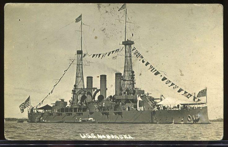 REAL PHOTO POSTCARD RPPC BANANA WARS U.S.S NEBRASKA US BATTLESHIP 1910-1916
