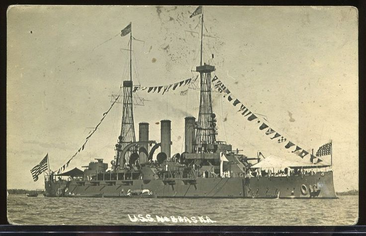REAL PHOTO POSTCARD RPPC BANANA WARS U.S.S NEBRASKA US BATTLESHIP 1910-1916