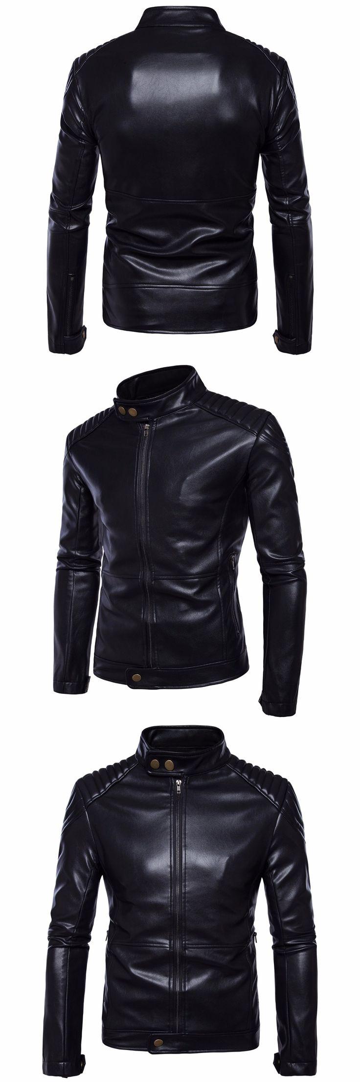 Fashion Design Leather Jacket Men Motorcycle Vintage Faux Leather Coats PU Jacket For Men Winter Jaquetas de motocicleta