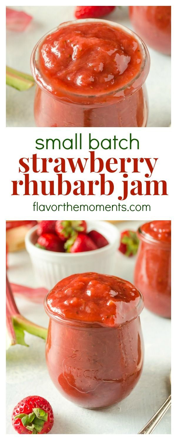 Small Batch Strawberry Rhubarb Jam is a delicious 4-ingredient homemade jam with no canning required and no refined sugar! @FlavortheMoment