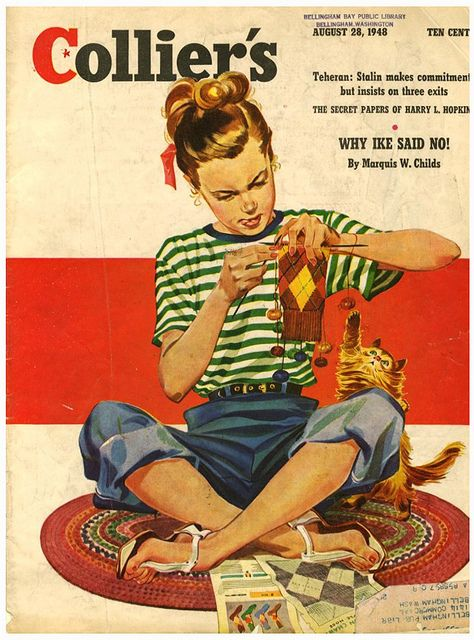 If I saw a picture of a girl knitting on the cover of McLean magazine, I think I'd fall off my chair.