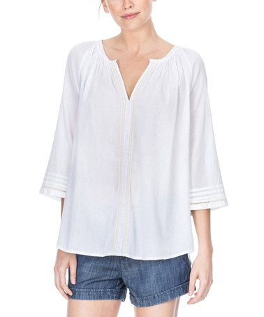 Another great find on #zulily! White Strip-Accent Notch Neck Tunic #zulilyfinds