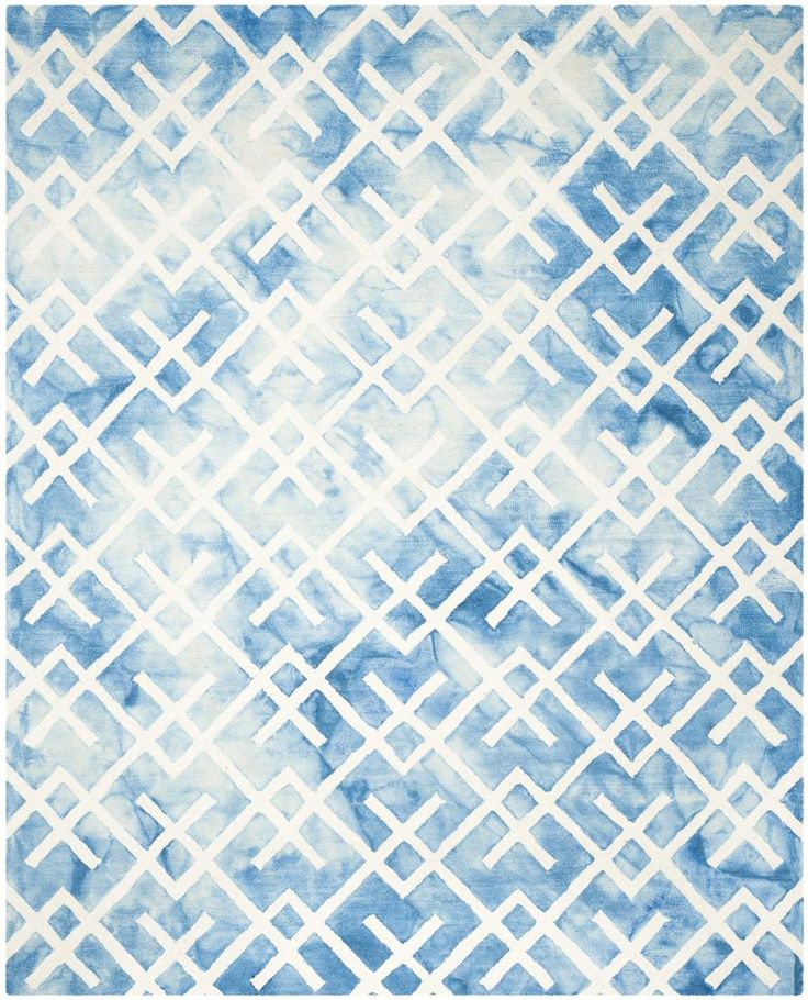DDY677G Rug from Dip Dye collection.  From Safavieh's Dip Dye Collection of mesmerizing watercolor area rugs, DDY677G is designed with white linear motifs on a plush, blue tie-dyed wool pile.