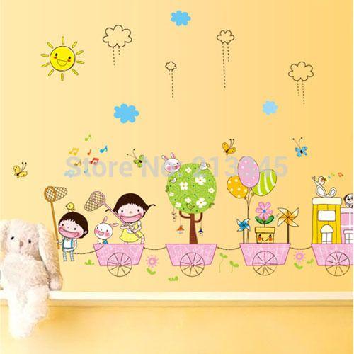 Sabato centro commerciale- cartoon adesivi murali camera dei bambini vivaio decalcomanie adesivo rimovibile carta da parati farfalle svolazzano gita 6726