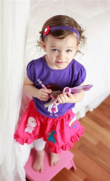 Doc McStuffins Outfit-Applique shirt and twirl skirt-Dark purple shirt available again. $75.00, via Etsy.