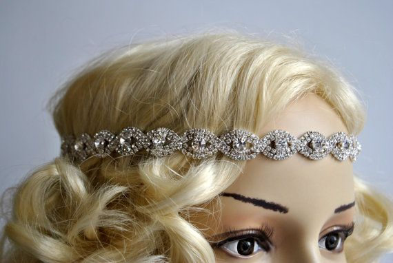 Rhinestone Headband, Great Gatsby Headband, Crystal Headband, Wedding Halo Bridal tie on ribbon Headband Headpiece, 1920s Flapper headband
