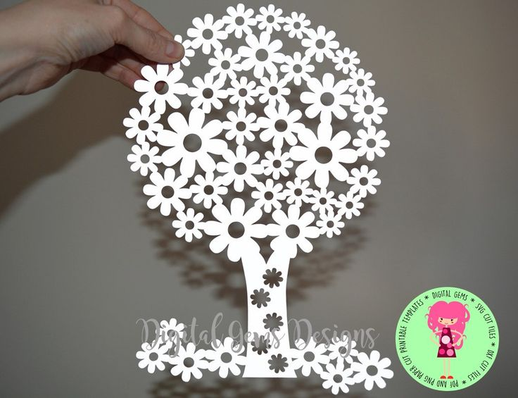 Flowering Tree Papercut Template SVG / DXF Cutting File For Cricut / Silhouette & PDF Printable For Hand Cutting Download, Commercial Use Ok by DigitalGems on Etsy