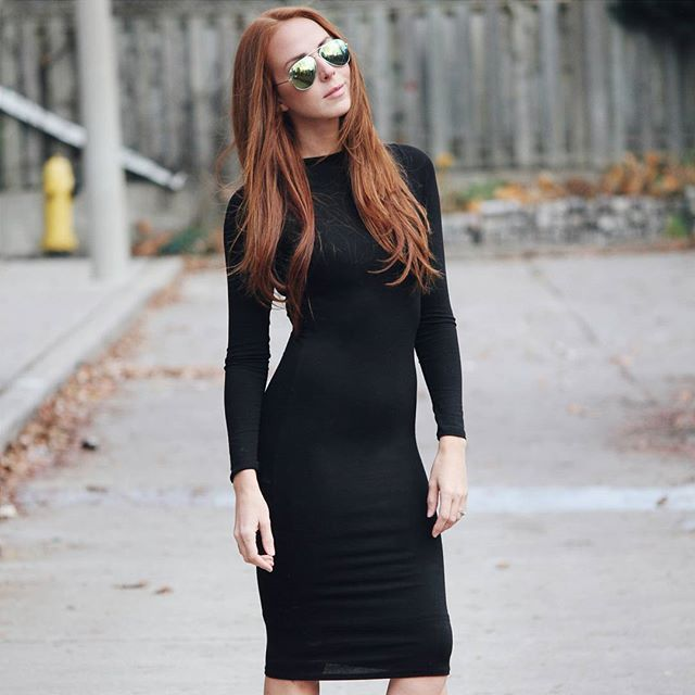 Fitted long sleeved mid-length dress from M for Mendocino.