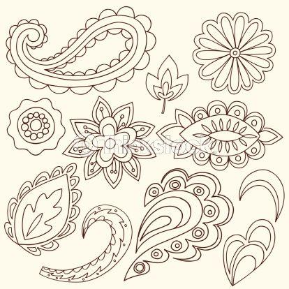 Vector Art: Henna Doodle Paisley Design Elements