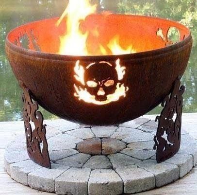Halloween style!! Cast iron Skull firepit or fire bowl!