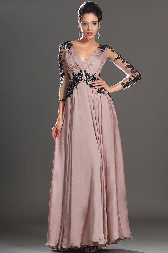 Lace prom dress chiffon formal evening dress/sweetheart and deep v back long prom dress/bridesmaid dress/graduation dress/home coming dress