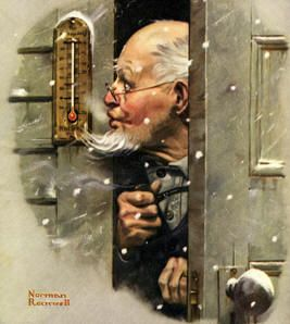 """Man Reading Thermometer""  Norman Rockwell cover of The Literary Digest published January 17, 1920.    The alternate title for this work is ""Fifteen Below Zero""."