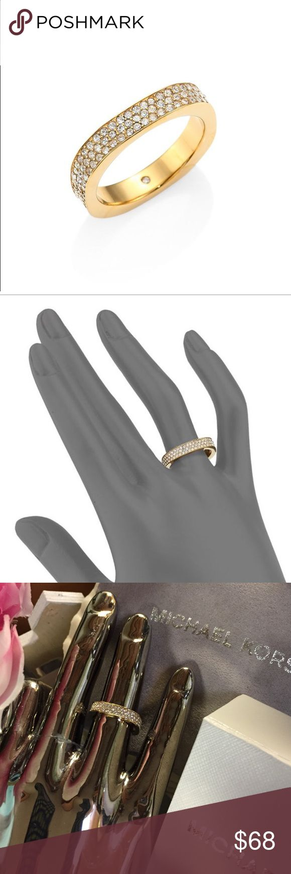 Michael Kors Pave Ring Brilliant genuine MK flat edge ring with glittery pave rhinestones.  In gold tone on stainless steel.  Very pretty and looks expensive.  ❌Trades. [RN] Price firm. First 2 photos stock. Comes with box and dust bag. Michael Kors Jewelry Rings