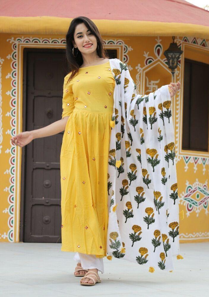 Indian Bollywood western gown Kurta Kurti bottom eidwomen ethnic dress pakistani