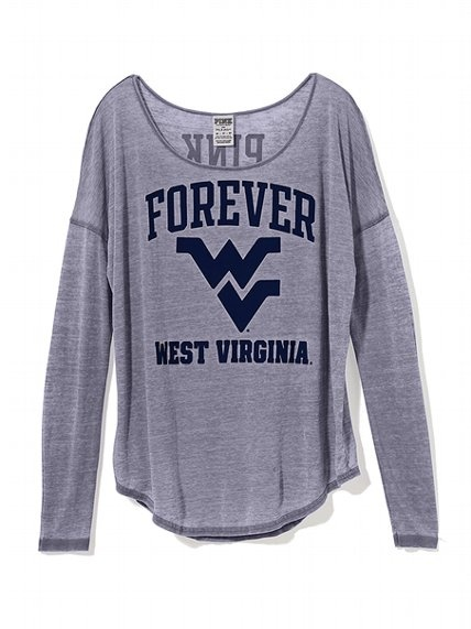 West Virginia University Long-sleeve Drapey Tee - Victoria's Secret PINK - Victoria's Secret - Sz Medium