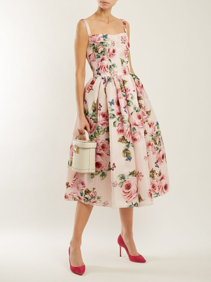 Click here to buy Dolce & Gabbana Rose-print silk organza dress at MATCHESFASHION.COM