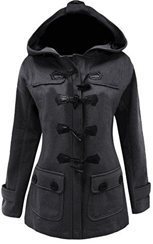 Meaneor Womens Plus Size Jacket Duffle Style Toggle Hoodie Pea Coat Top M Dark Gray *** For more information, visit image link.