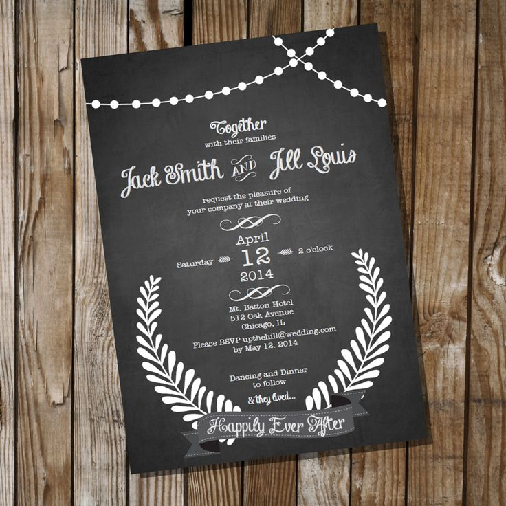 fast shipping wedding invitations%0A Chalkboard Wedding Invitation Instant Download by SunshineParties