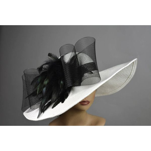 White Black Church Wedding Hat Head Piece Kentucky Derby Hat White... ($90) ❤ liked on Polyvore featuring accessories, hats, church hats, black and white derby hat, black and white hat, white hat and summer hats