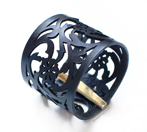 "Leather Cuff Bracelet - ""Rose Lace"" Bracelet in Black Leather"